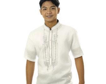 BARONG TAGALOG Linen Gusot Mayaman Filipino National Costume FILIPINIANA Formal Dress for Men - White