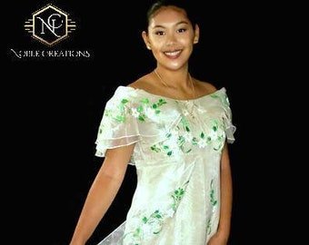 FILIPINIANA DRESS Hand-painted Off-Shoulder Gown Philippine National Costume Barong Tagalog- Beige