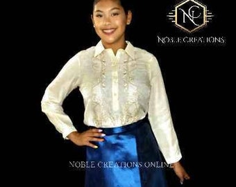 TAFETTA WRAP SKIRT for Ladies Barong Tagalog  Free Size Philippine National Costume Independence Day - Blue