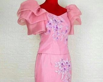 """FILIPINIANA DRESS  """"MISTY"""" Handpainted Mestiza Gown Philippine National Costume Maria Clara Baro at Saya Barong Tagalog - Pink"""