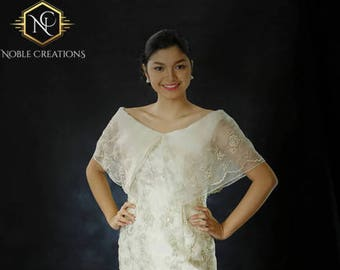 FILIPINIANA DRESS Embroidered Off-Shoulder Gown Philippine National Costume - Beige