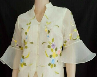 Modern FILIPINIANA HANDPAINTED BLOUSE In Flair Sleeves - Barong Tagalog Blouse Maria Clara Philippine National Costume For Women