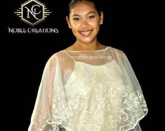FILIPINIANA PONCHO PANUELO Embroidered Philippine Barong Tagalog Maria Clara Mestiza Design - Beige