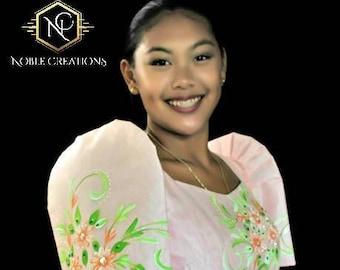 Filipiniana Dress Handpainted Mestiza Gown - Peach