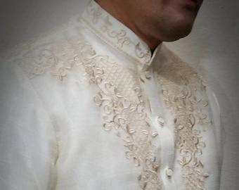 BARONG TAGALOG ARMAN1 style with Inner Lining Filipino National Costume Filipiniana Formal Dress For Men Lumban Laguna Philippines - Beige
