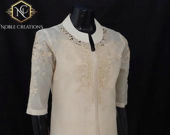 TUNIC BLAZER in COCOON Silk - Embroidered Modern Filipiniana Barong Tagalog Philippine National Costume Filipino Filipina - Beige