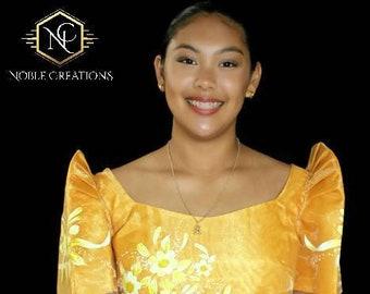 FILIPINIANA DRESS Handpainted Mestiza Gown Philippine National Costume - Gold