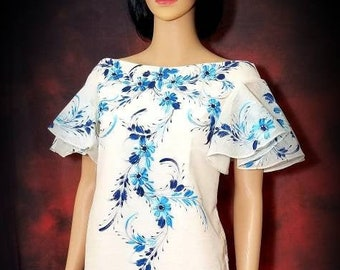 FILIPINIANA Dress Hand Painted Off-Shoulder Cocoon Silk BARONG TAGALOG Philippine National Costume - Beige Base Blue Floral