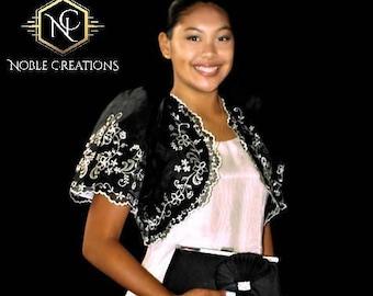 FILIPINIANA Embroidered BOLERO Philippine National Costume - Black
