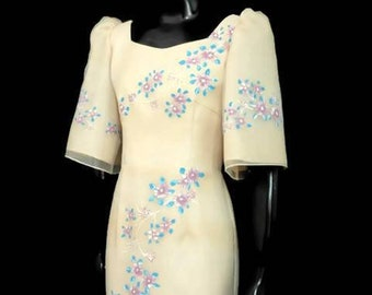 FILIPINIANA Hand-painted BELL SLEEVES Terno Gown Philippine National Costume Maria Clara Barong Tagalog - Beige