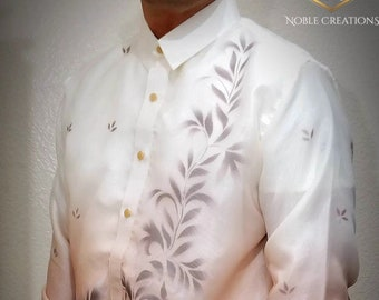 BARONG TAGALOG with Inner Lining Philippine National Costume FILIPINIANA Filipino Formal Dress For Men - Light Brown