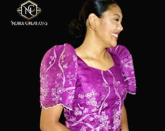 FILIPINIANA DRESS Embroidered and Beaded Mestiza Gown - Magenta