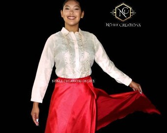 TAFETTA WRAP SKIRT for Ladies Barong Tagalog  Free Size Philippine National Costume Independence Day -Red