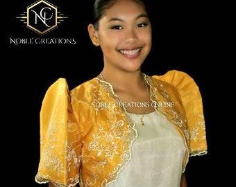FILIPINIANA Embroidered BOLERO Philippine National Costume - Gold