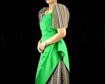 Modern FILIPINIANA DRESS BALINTAWAK Mestiza Maria Clara Baro at Saya Philippine National Costume Barong Tagalog Gown - Ethnic Green