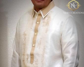 Double Collar BARONG TAGALOG  Filipino National Costume FILIPINIANA Formal Dress For Men made in Lumban Laguna Philippines - Beige