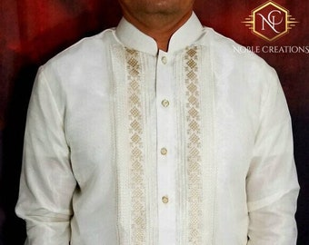 BARONG TAGALOG Chinese Collared Filipino National Costume FILIPINIANA Formal Dress for Men - Beige