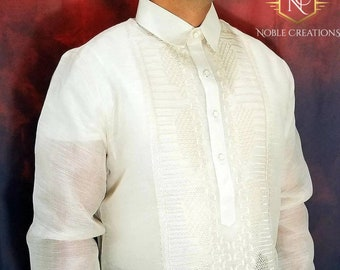 BARONG TAGALOG Piña and Abaca Fiber Blend Fabric Hand and Machine Embroidered Philippine National Costume Filipiniana For Men-Groom