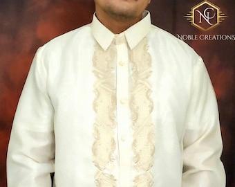BARONG TAGALOG Filipino National Costume FILIPINIANA Formal Dress for Men - Made in Lumban Laguna Philippines - NCB2 Beige
