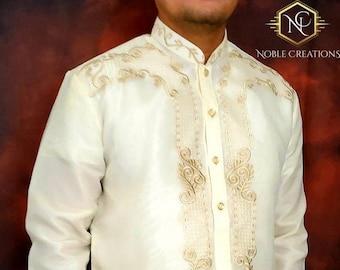 BARONG TAGALOG ARMAN11 style with Inner Lining Filipino National Costume Filipiniana Lumban Laguna Philippines - NCBA2 Beige