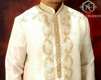 BARONG TAGALOG ARMAN3 with Inner Lining Placket Filipino National Costume Filipiniana Formal Dress For Men Lumban Laguna Philippines - Beige