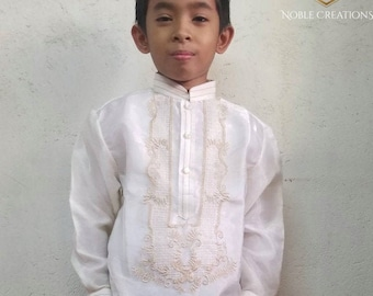 Kids BARONG TAGALOG Beige with Inner Lining Philippine National Costume FILIPINIANA Formal Dress Philippines - NCLA1