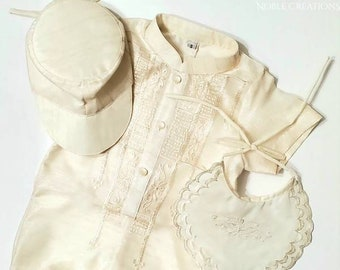 BAPTISMAL BARONG TAGALOG Set for Baby Boys Romper with Inner Lining Philippine National Costume Filipiniana Formal Dress - Beige