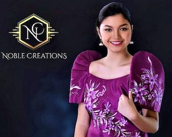 FILIPINIANA DRESS Handpainted Mestiza Gown Philippine National Costume Maria Clara Baro at Saya Barong Tagalog - Magenta