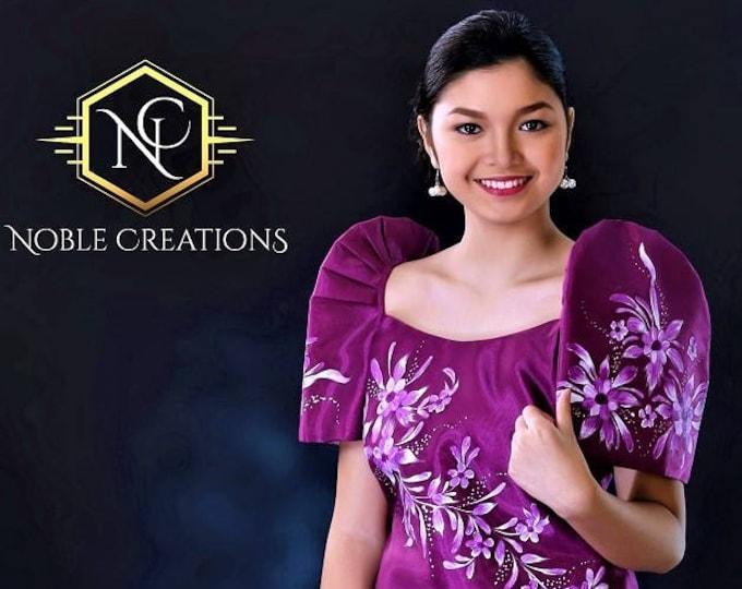 Featured listing image: FILIPINIANA DRESS Handpainted Mestiza Gown Philippine National Costume Maria Clara Baro at Saya Barong Tagalog - Magenta