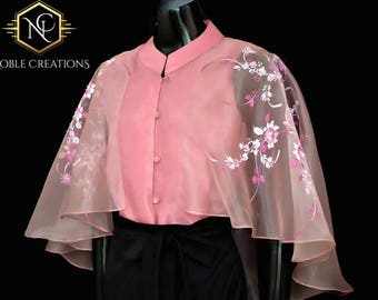 6caa0b6832 Modern FILIPINIANA Inspired Silk Hand-Painted CAPE BLOUSE Philippine  National Costume - Old Rose
