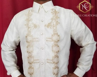 BARONG TAGALOG Full Open Embroidered Filipino National Costume FILIPINIANA Formal Dress for Men - Beige