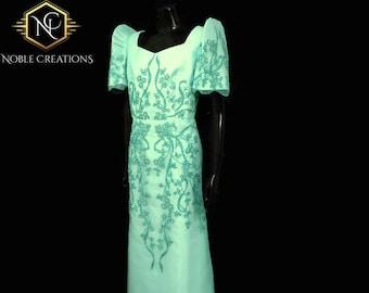 FILIPINIANA DRESS Embroidered and Beaded MESTIZA Maria Clara Baro at Saya Philippine National Costume Barong Tagalog Gown - Mint Green