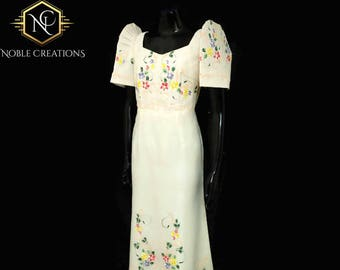 FILIPINIANA Dress Hand-painted and Embroidered  Mestiza Maria Clara Terno BARONG TAGALOG Philippine National Costume Gown - Beige
