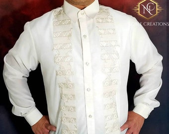 BARONG TAGALOG Full Open Embroidered Jusi-Cotton Blend Fabric with Lining Filipino National Costume FILIPINIANA Formal Dress for Men