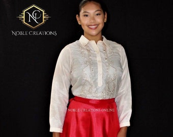 Sale!!! Sale!!! LADIES BARONG TAGALOG Philippine National Costume For Women - Beige