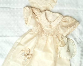 BAPTISMAL FILIPINIANA DRESS Set for Baby Girls with Inner Lining Philippine National Costume Barong Tagalog Formal Dress - Beige