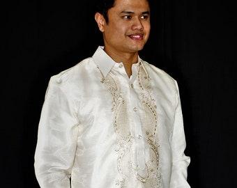 BARONG TAGALOG Filipino National Costume FILIPINIANA Formal Dress for Men - Beige Made in Lumban Laguna Philippines