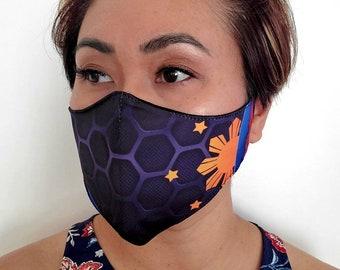 FACE MASK Filipino Flag Inspired Non-Medical Sublimation Washable Dust Mask - Black HC