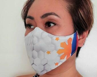 FACE MASK Filipino Flag Inspired Non-Medical Sublimation Washable Dust Mask - White HC