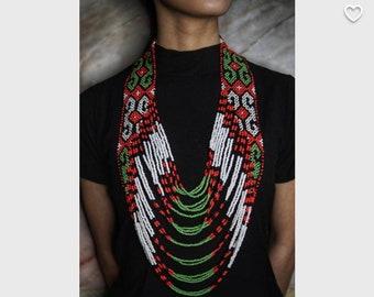 FILIPINIANA Ethnic Manobo T'boli 8-layered Traditional Bead Necklace Philippines Mindanao - Multicolor