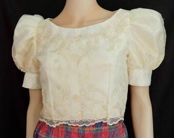 FILIPINIANA EMBROIDERED KIMONA with Puff Sleeves -  Maria Clara Philippine National Costume For Women - Beige