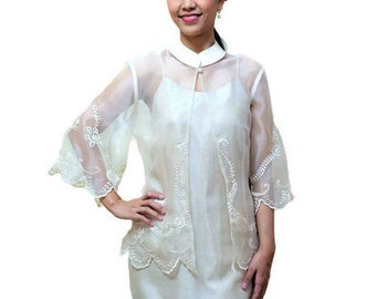 Modern FILIPINIANA  Silk EMBROIDERED BLAZER/ Blouse Barong Tagalog Philippine National Costume Filipino Clothing - Beige