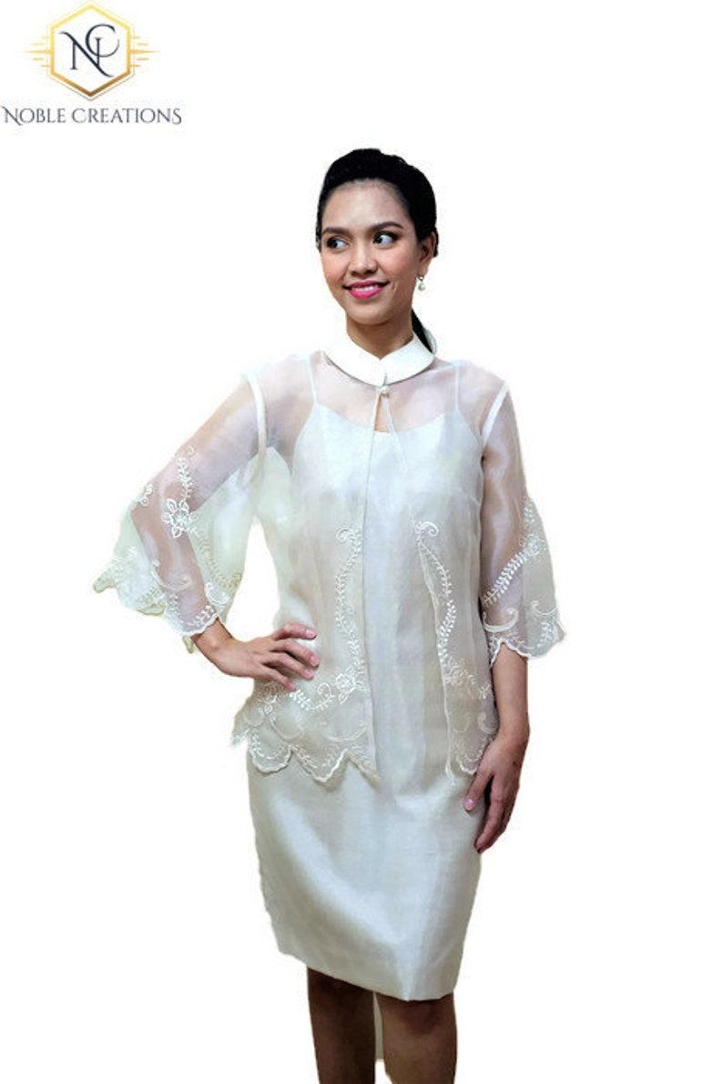 f9b835ff387 Modern FILIPINIANA Silk EMBROIDERED BLAZER  Blouse Barong