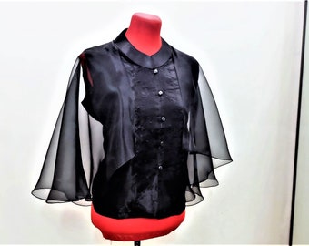 Modern FILIPINIANA Inspired Silk Embroidered CAPE BARONG tagalog Philippine National Costume - Black