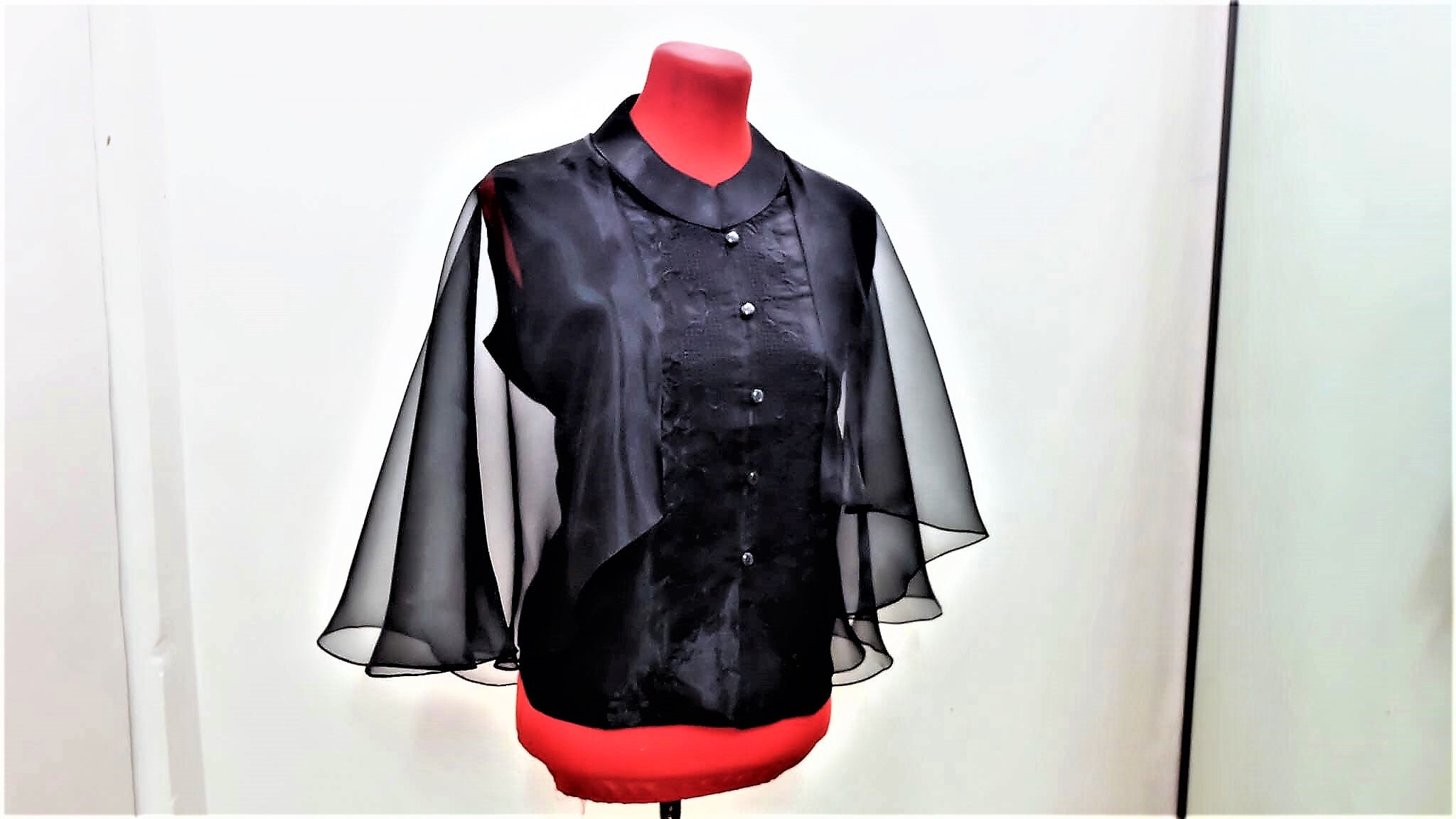 4d9e0b9403 Modern FILIPINIANA Inspired Silk Embroidered CAPE BARONG tagalog Philippine  National Costume - Black