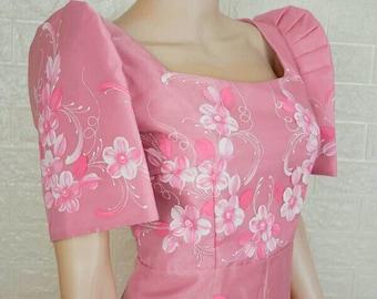 """FILIPINIANA """"Anne"""" DRESS Handpainted Mestiza Gown Philippine National Costume Maria Clara Baro at Saya Barong Tagalog - Pink"""