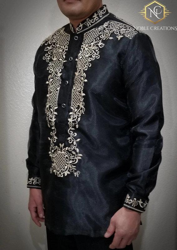 Barong Tagalog Arman1 Style With Inner Lining Filipino National Costume Filipinianaformal Dress For Men Black Lumban Laguna Philippines