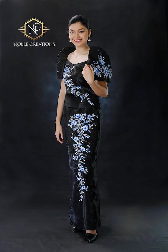 FILIPINIANA DRESS Handpainted Mestiza Gown Black | Etsy