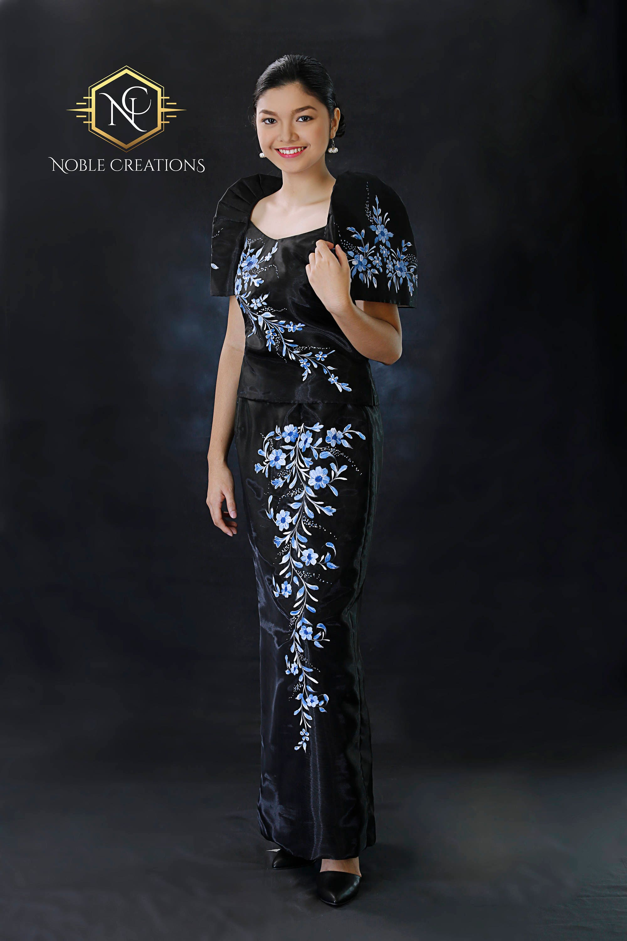 FILIPINIANA DRESS Handpainted Mestiza Gown - Black
