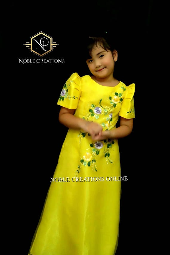 KIDS FILIPINIANA DRESS Handpainted Mestiza Gown SantaCruzan | Etsy